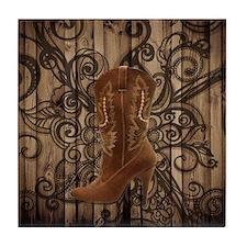 floral cowboy boots texas star Tile Coaster