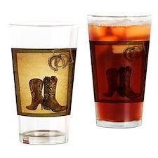 barnwood cowboy boots horseshoe Drinking Glass