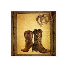 "barnwood cowboy boots horse Square Sticker 3"" x 3"""