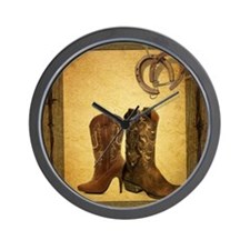barnwood cowboy boots horseshoe Wall Clock
