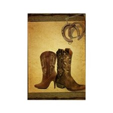 barnwood cowboy boots horseshoe Rectangle Magnet