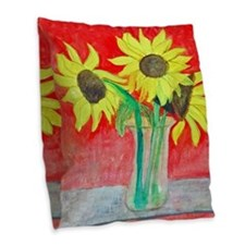 Sunflower Vase Burlap Throw Pillow