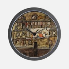 House Wall on the River by Egon Schiele Wall Clock
