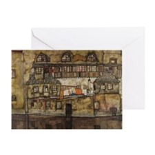 House Wall on the River by Egon Schi Greeting Card