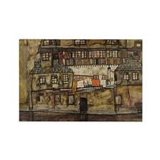 House Wall on the River by Egon S Rectangle Magnet