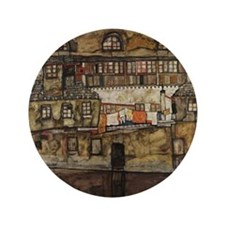 """House Wall on the River by Egon Schiel 3.5"""" Button"""