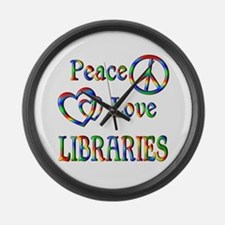 Peace Love LIBRARIES Large Wall Clock