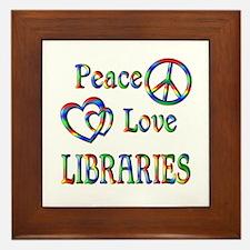 Peace Love LIBRARIES Framed Tile