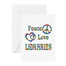 Peace Love LIBRARIES Greeting Cards (Pk of 20)