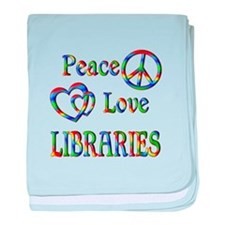 Peace Love LIBRARIES baby blanket