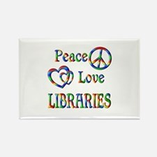 Peace Love LIBRARIES Rectangle Magnet (10 pack)