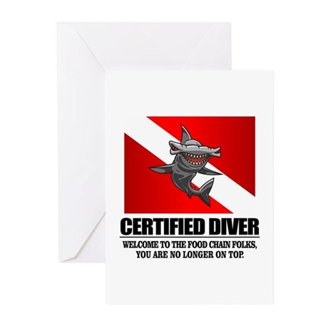 Certified Diver (Food Chain) Greeting Cards