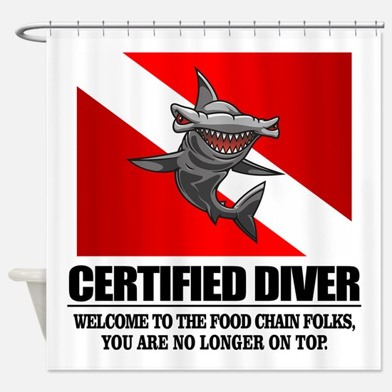Certified Diver (Food Chain) Shower Curtain