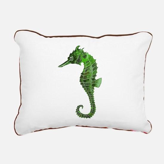 Green seahorse Rectangular Canvas Pillow