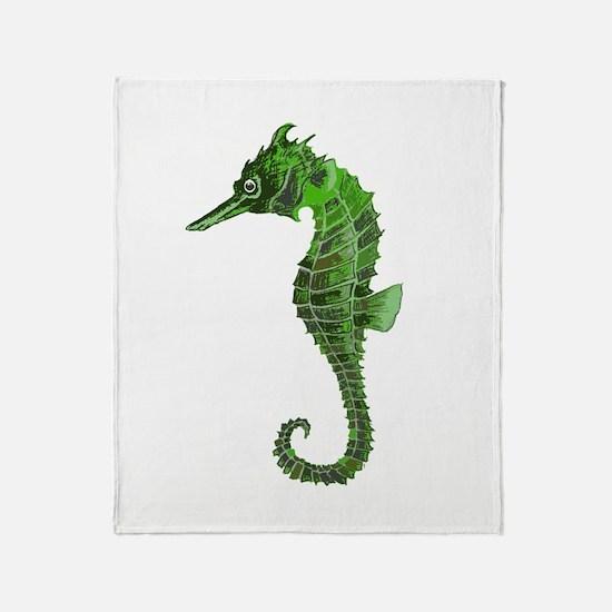 Green seahorse Throw Blanket