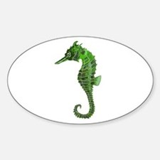 Green seahorse Sticker (Oval)