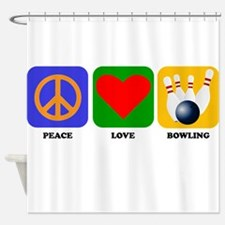 Peace Love Bowling Shower Curtain