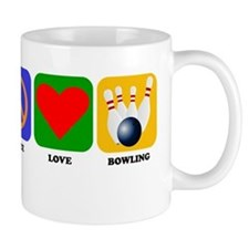 Peace Love Bowling Mugs