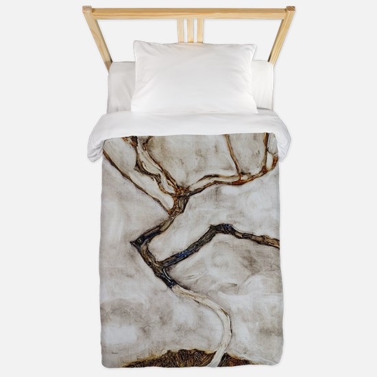 Small Tree in Late Autumn by Egon Schie Twin Duvet