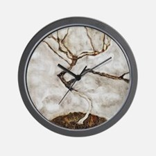 Small Tree in Late Autumn by Egon Schie Wall Clock