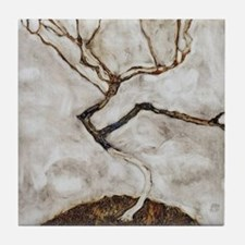 Small Tree in Late Autumn by Egon Sch Tile Coaster
