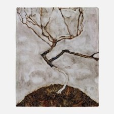 Small Tree in Late Autumn by Egon Sc Throw Blanket