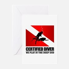 Certified Diver (Deep End) Greeting Cards
