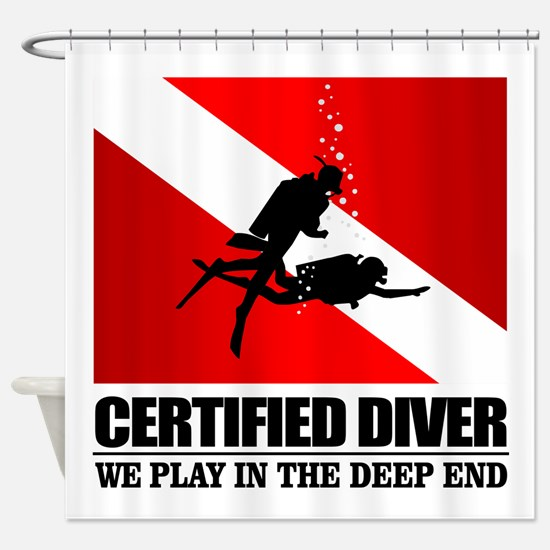 Certified Diver (Deep End) Shower Curtain