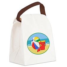 Beach Ball Pail and Shovel Canvas Lunch Bag
