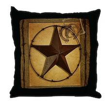 texas star horseshoe western Throw Pillow