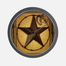 texas star horseshoe western Wall Clock