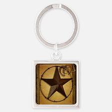 texas star horseshoe western Square Keychain