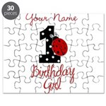 1 Ladybug Birthday Girl - Your Name Puzzle