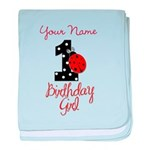 1 Ladybug Birthday Girl - Your Name baby blanket