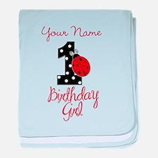 1 Ladybug Birthday Girl - Your Name baby blanket