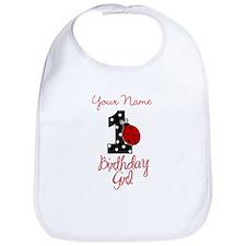 1 Ladybug Birthday Girl - Your Name Bib