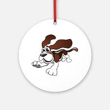 Cartoon Basset Hound Ornament (Round)