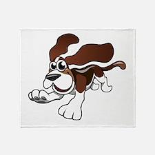 Cartoon Basset Hound Throw Blanket
