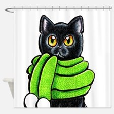 Black Cat Scarf Shower Curtain