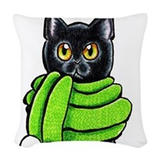 Black Cat Scarf Woven Throw Pillow