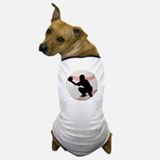 Baseball Catcher Silhouette Dog T-Shirt