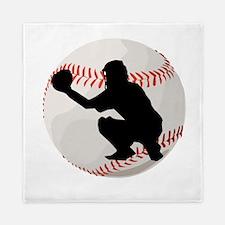 Baseball Catcher Silhouette Queen Duvet