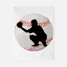 Baseball Catcher Silhouette Twin Duvet