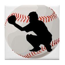 Baseball Catcher Silhouette Tile Coaster