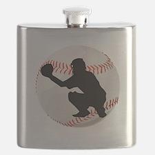 Baseball Catcher Silhouette Flask