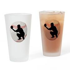 Baseball Catcher Silhouette Drinking Glass