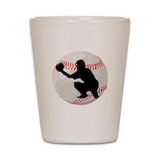 Baseball Catcher Silhouette Shot Glass