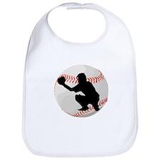 Baseball Catcher Silhouette Bib