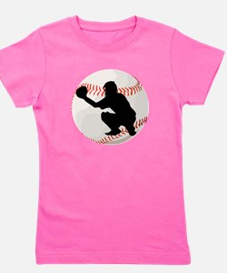 Baseball Catcher Silhouette Girl's Tee