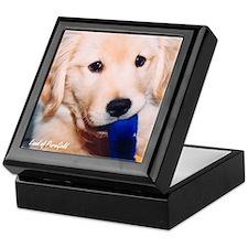 """Golden Retriever """"A Pensive Puppy & Tug"""" Tile Box"""